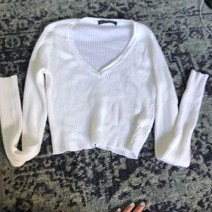 cropped brandy melville white sweater